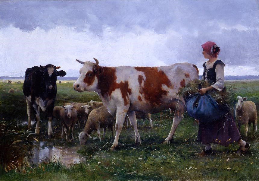 Peasant Woman with Cows & Sheep by Julien Dupre