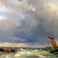 Shipping in a Stiff Breeze near Enkhuizen by Hermanus Koekkoek Snr