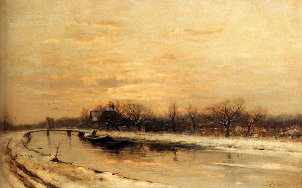 Winter: An Orchard Alongside A Canal With A Farmhouse In The Distance At Dusk by Louis Apol