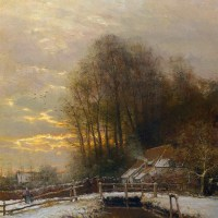 Winter Landscape with Peasant Woman and Child by Louis Apol