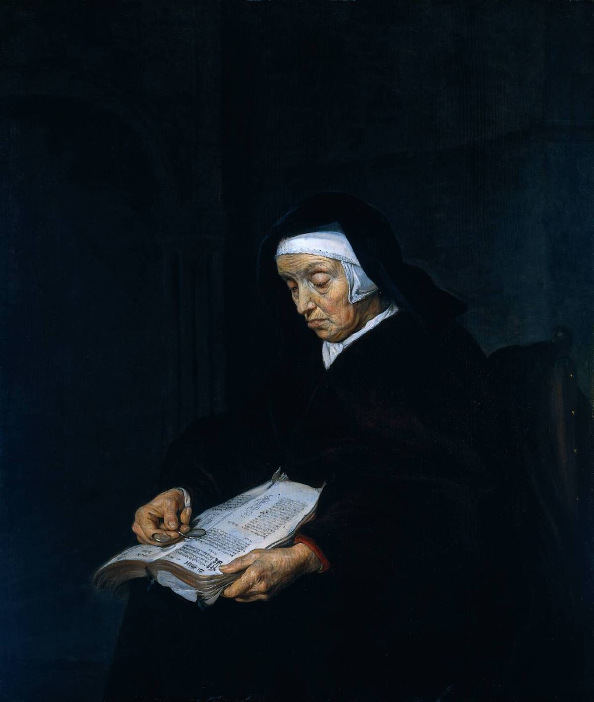 Old Woman Meditating by Gabriel Metsu