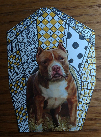 In the Dog House #Zentangle #ATC Art Card Swap - Pit Bull