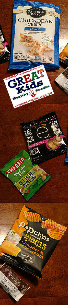 Great Kids Healthy Snacks Subscription Delivers Snack Brands like Saffron Road Enlightened Popchips Emerald Nuts Emmys