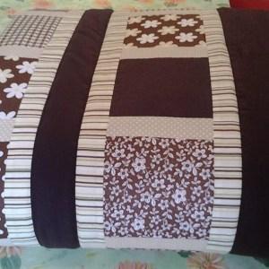 deka z patchworovej látky hnedá
