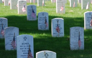 Image of gravestones at a military cemetery