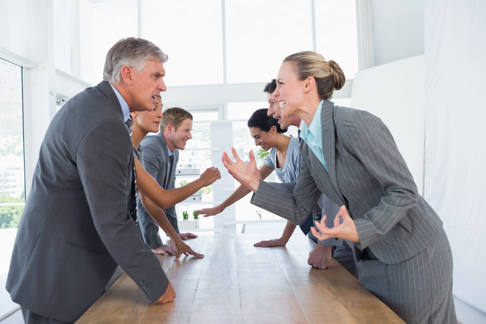 group of businesspeople arguing