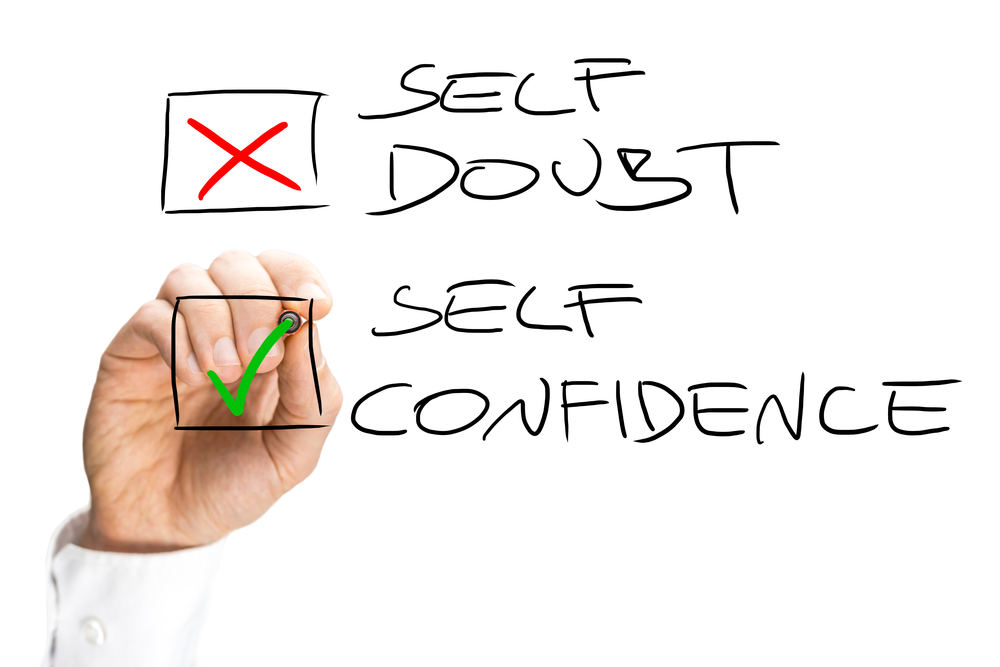 Two check boxes with self doubt and self confidence