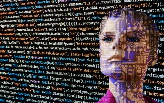 Image of a human like figure with lines of computer code surrounded by computer code