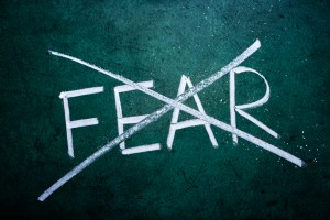 The word fear with a line through it