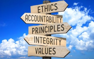 road signs with the words: ethics, accountability, principles integrity, values