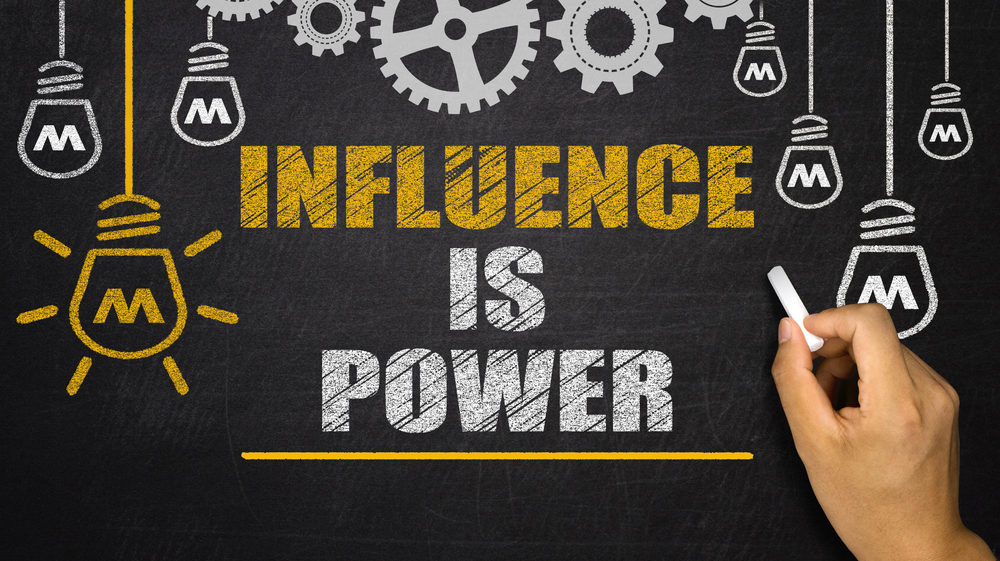 """Chalkboard with """"Influence as Power"""" written on it. Lightbulbs hanging around"""