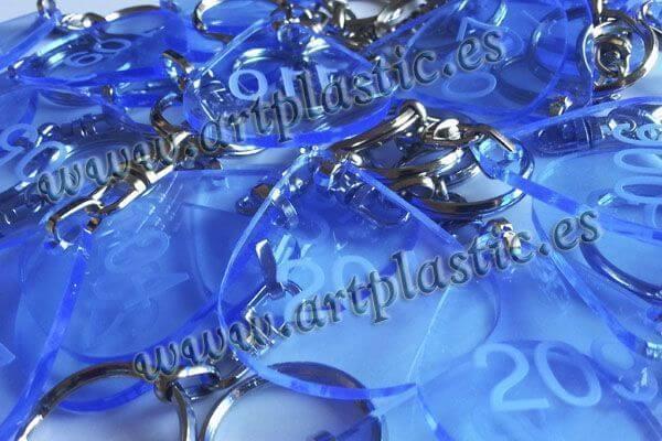 llaveros personalizados metacrilato azul transparente