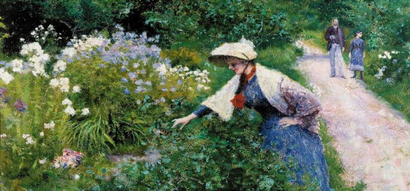 Władysław Podkowiński: Dans le jardin, par le lit de la fleur. 1891