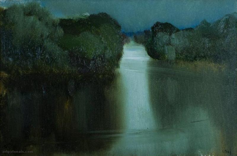 Stanisław Baj: Soirée au bord du lac. Huile sur toile. 40 x 60 cm. Collection privée.