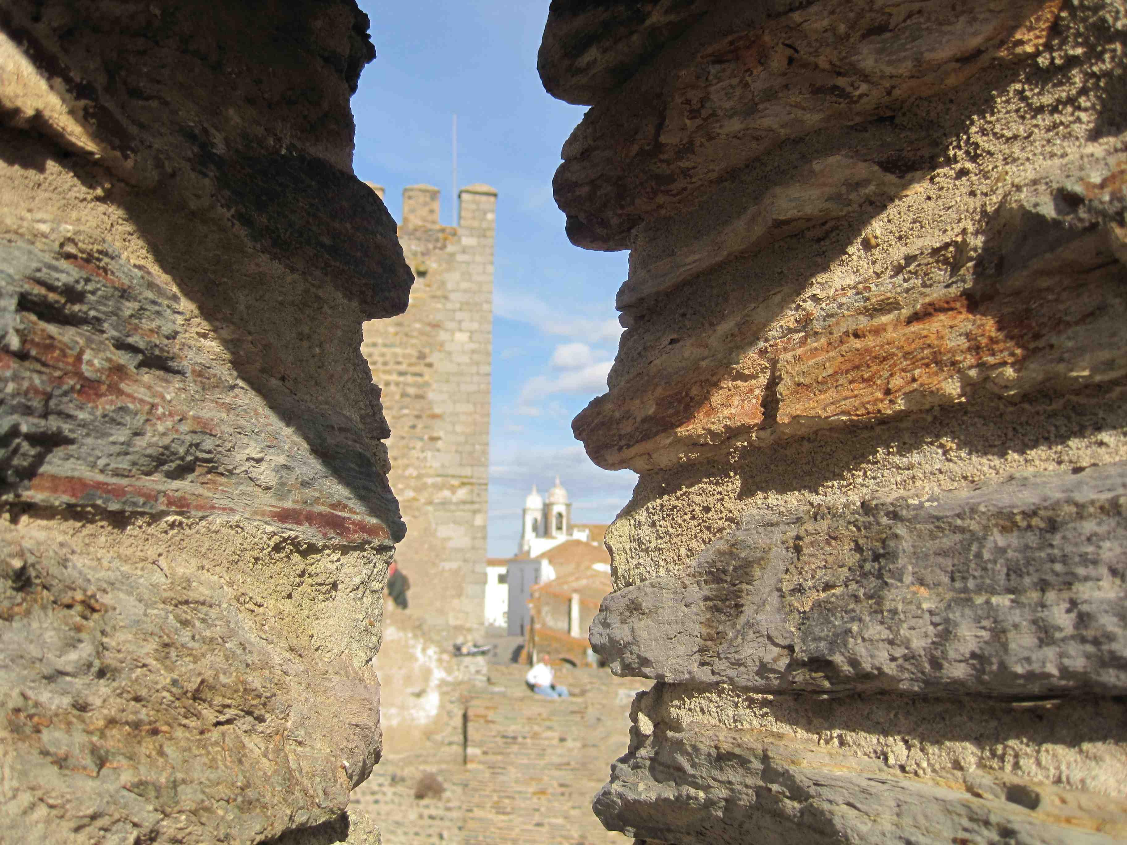 peeking through gun turrets Monsarez Castle Alentejo Portugal