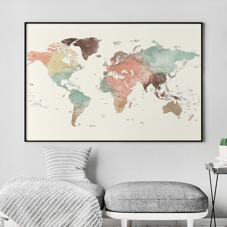 Large world map poster pastel cream detailed   ArtPrintsVicky Large world map poster pastel cream detailed second