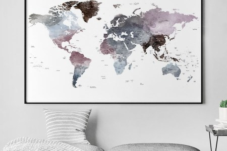 Grey World Map Poster Path Decorations Pictures Full Path Decoration - Grey world map poster