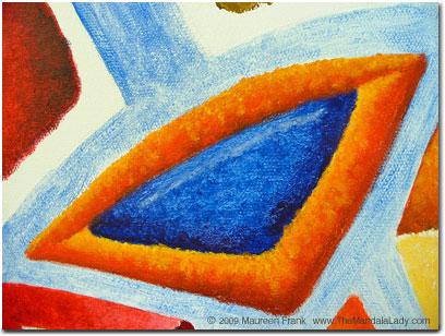 Close up of blue/orange triangle