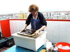 Jane Making Paper at Taipei apartment studio 2004