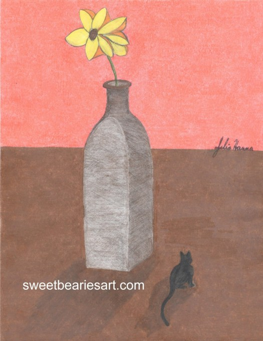 Whimsical drawing of Irina the cat standing under a large impressionistic flower.