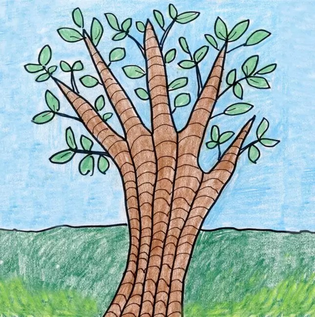 Draw A Tree With Your Hand Art Projects For Kids