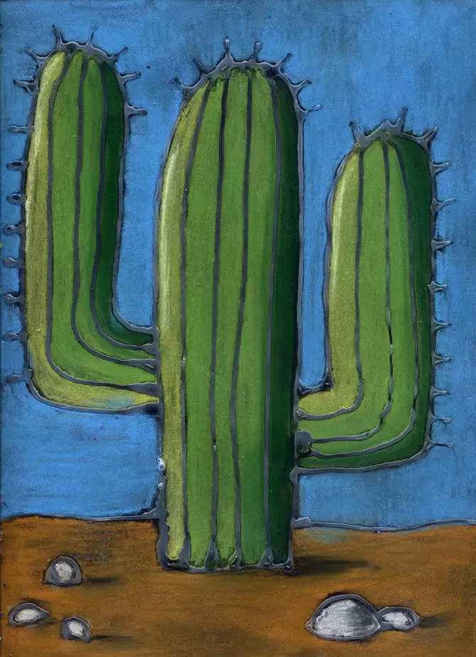 Pastel Cactus Drawing Art Projects For Kids
