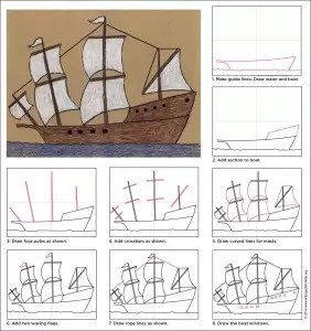 Draw a Mayflower Ship  Art Projects for Kids