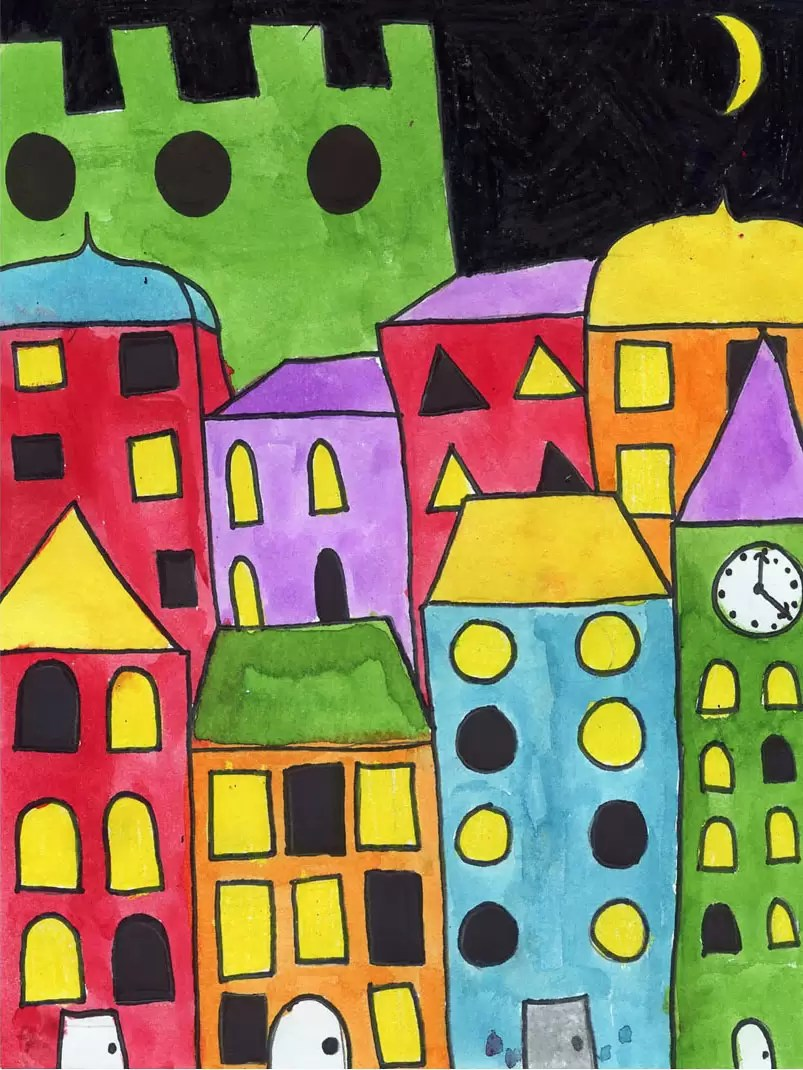 Painting Layered Buildings Art Projects For Kids