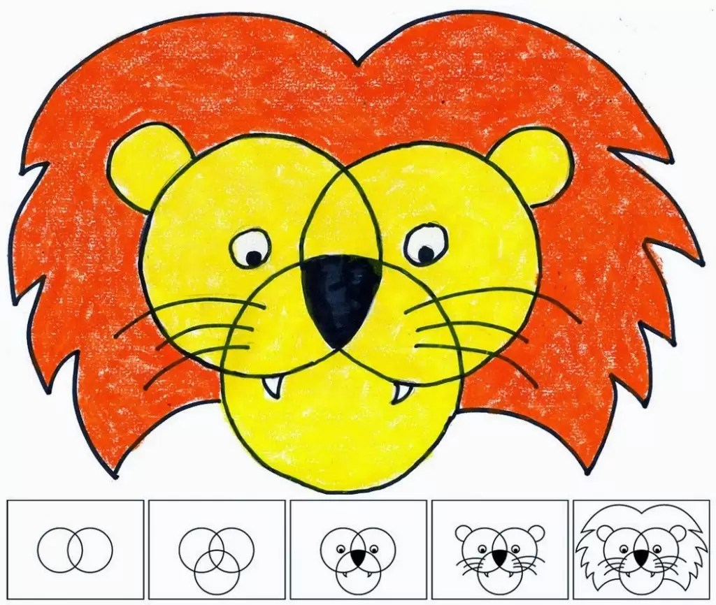 Three Circle Lion Face
