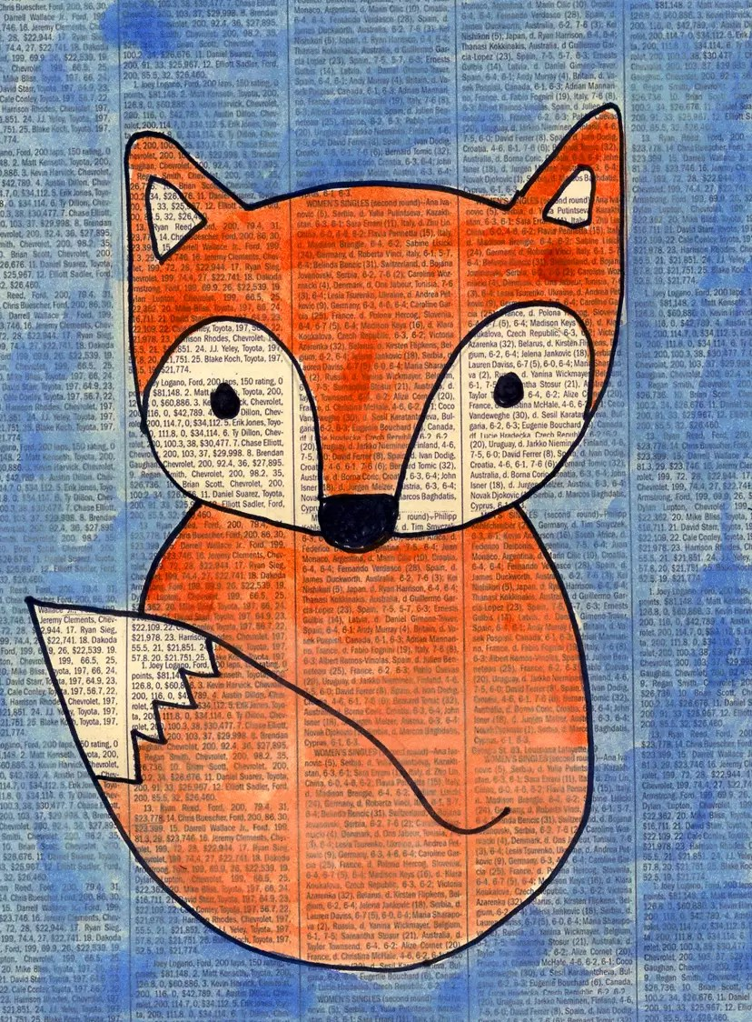 fox on newspaper art projects for kids