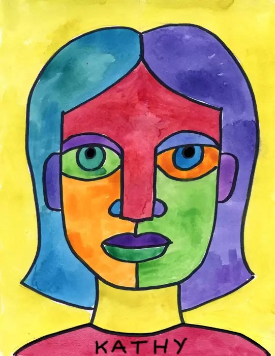 draw an abstract self portrait art projects for kids