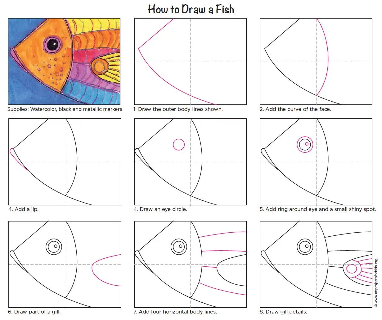 How To Draw A Fish Close Up Art Projects For Kids