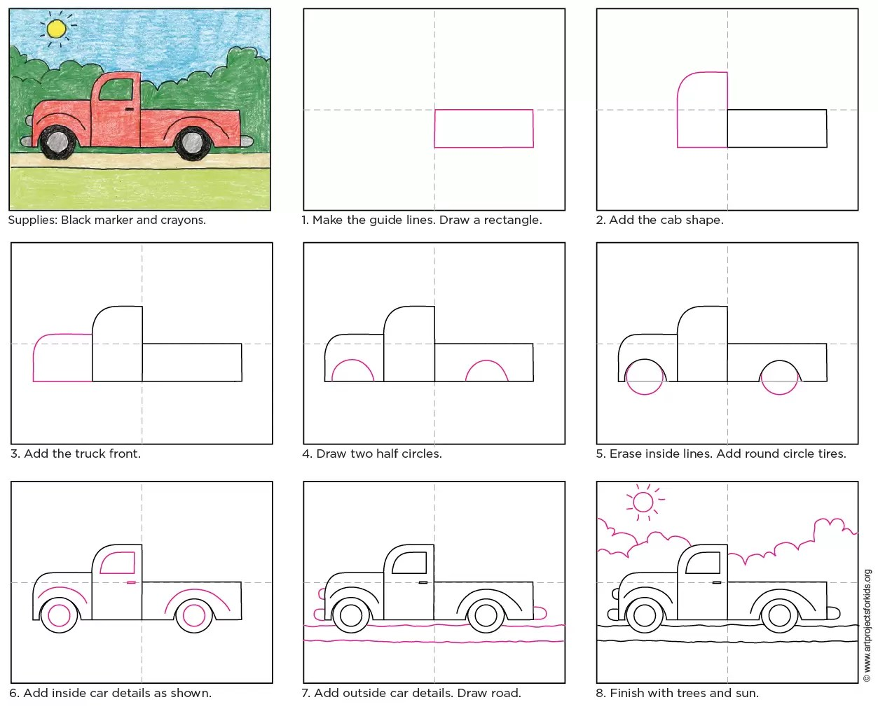 Draw A Simple Truck Art Projects For Kids