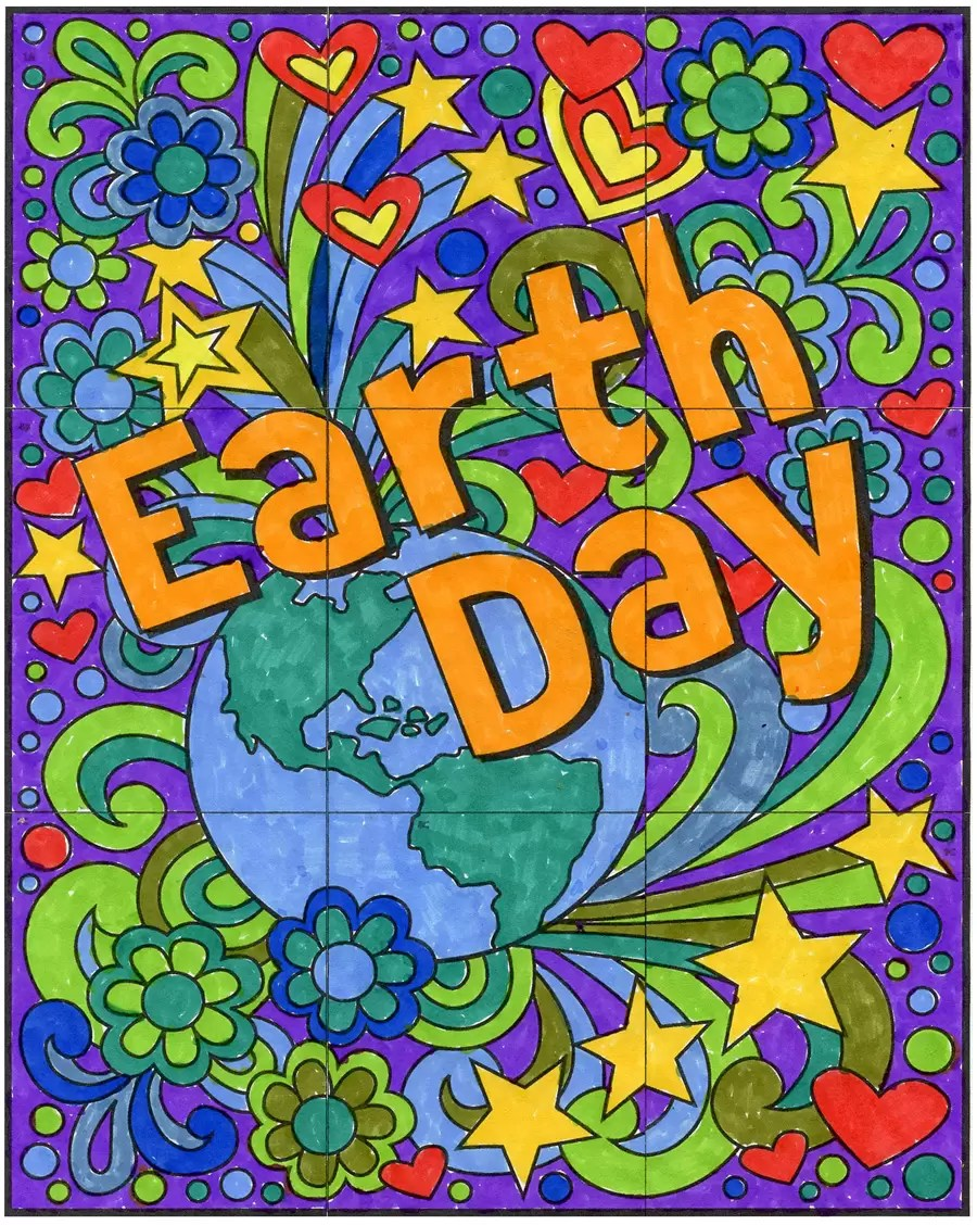 FREE Mini Earth Day Mural Art Projects For Kids