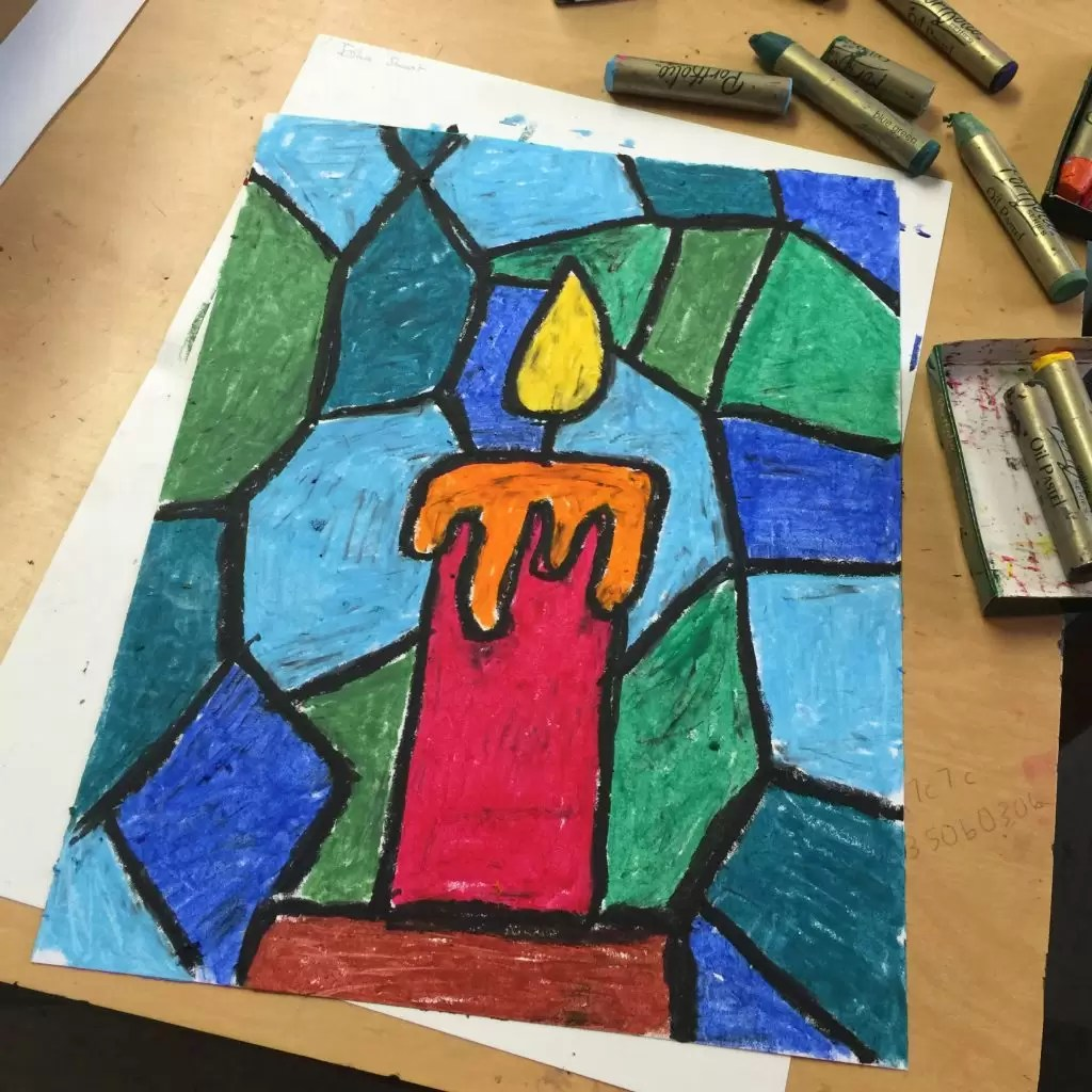 Oil Pastel Candle Drawing