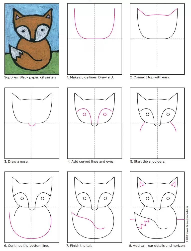 Cute Fox Drawing Art Projects For Kids
