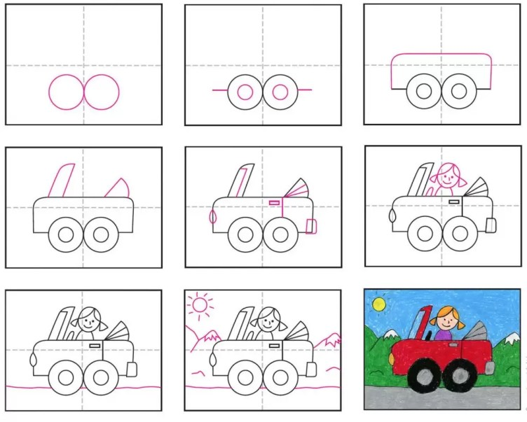 Draw a Cute Car · Art Projects for Kids