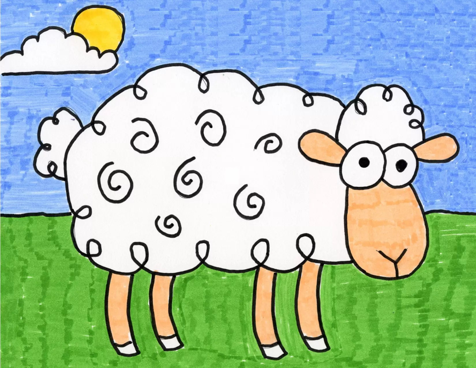 How To Draw A Sheep Art Projects For Kids
