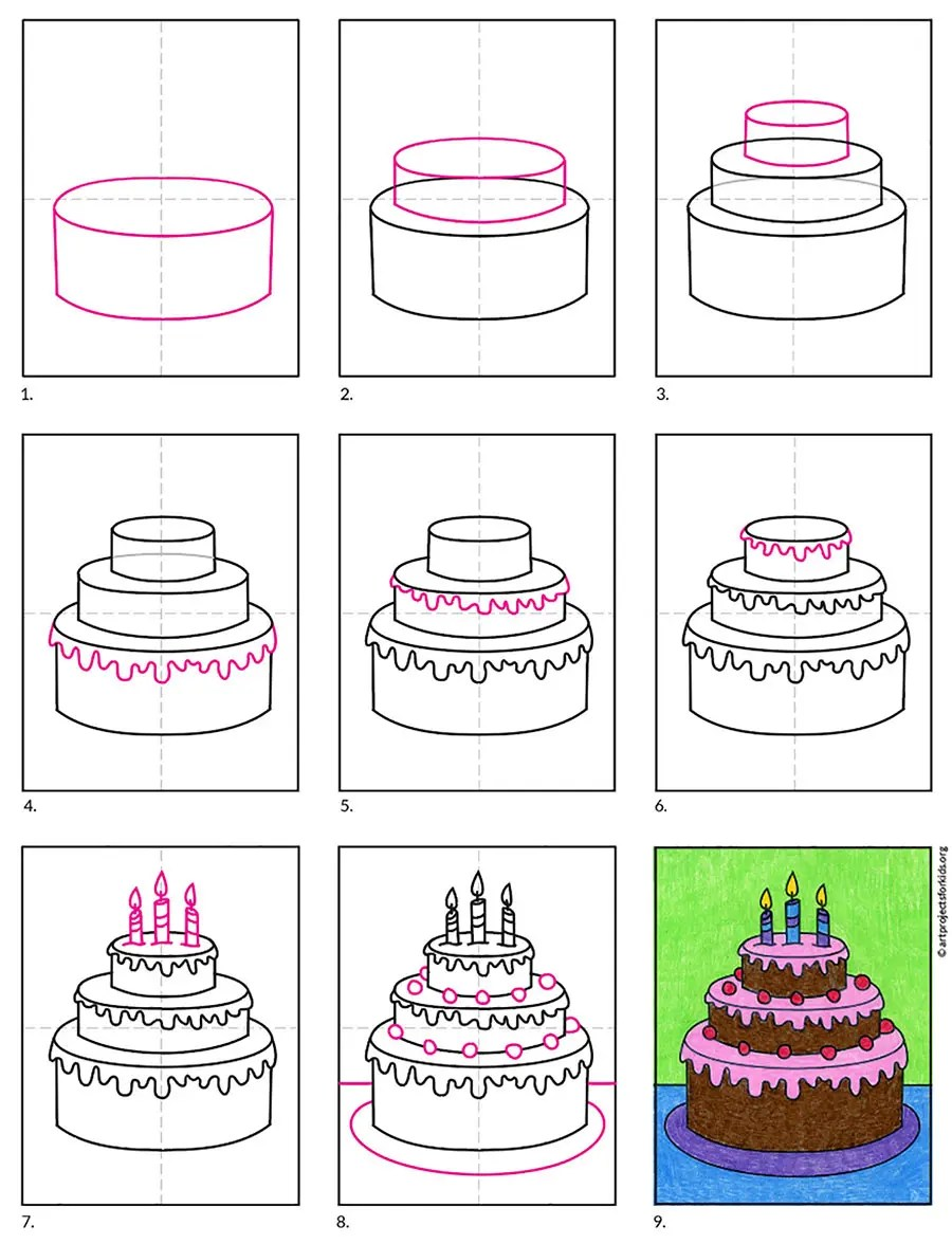 How To Draw Birthday Cake Art Projects For Kids