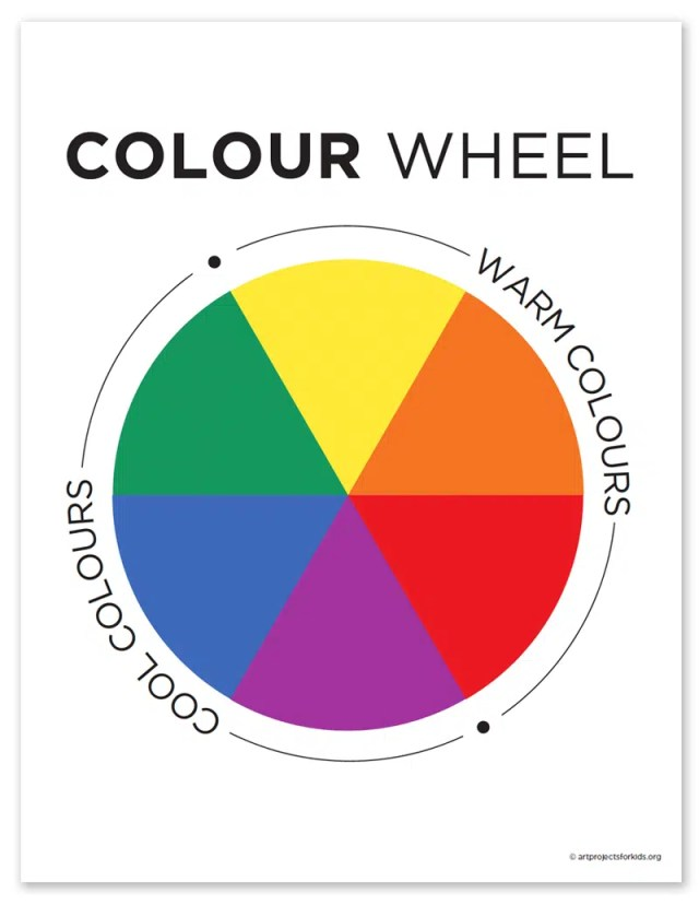 Primary Color Wheel and Color Wheel Coloring Page