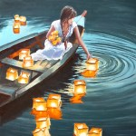 Paintings Serenity Japanese Woman On A Boat Lantern Festival Oil Painting Page 686 Art By Independent Artists