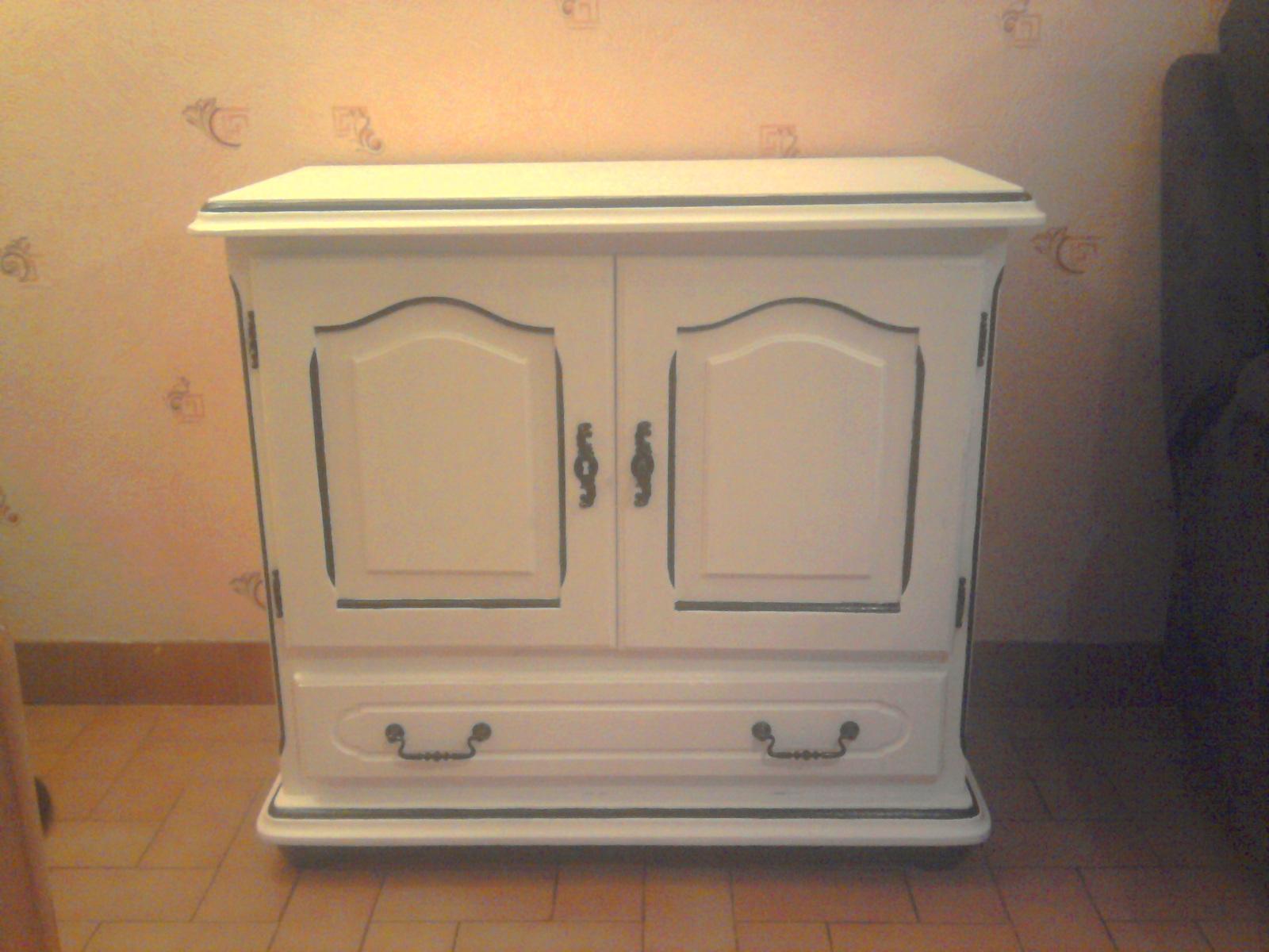 rangement meuble tv ancien peint blanc