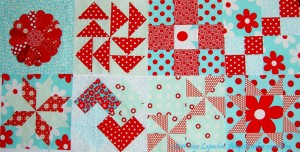 Aqua-Red Sampler Quilt Blocks -September 2011