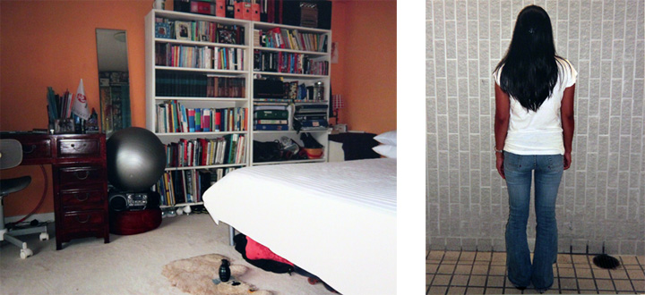 Bedroom and Filipino maid. Photography by Sun Yuan and Peng Yu. Image Courtesy to Erin Wooters.