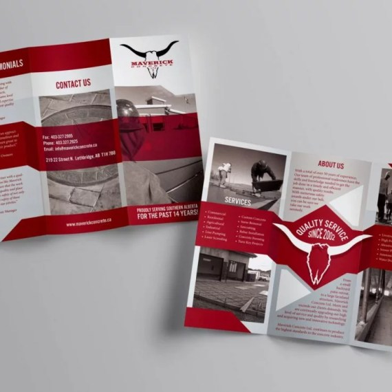Maverick Concrete - 3 Panel Brochure Design - Lethbridge Alberta