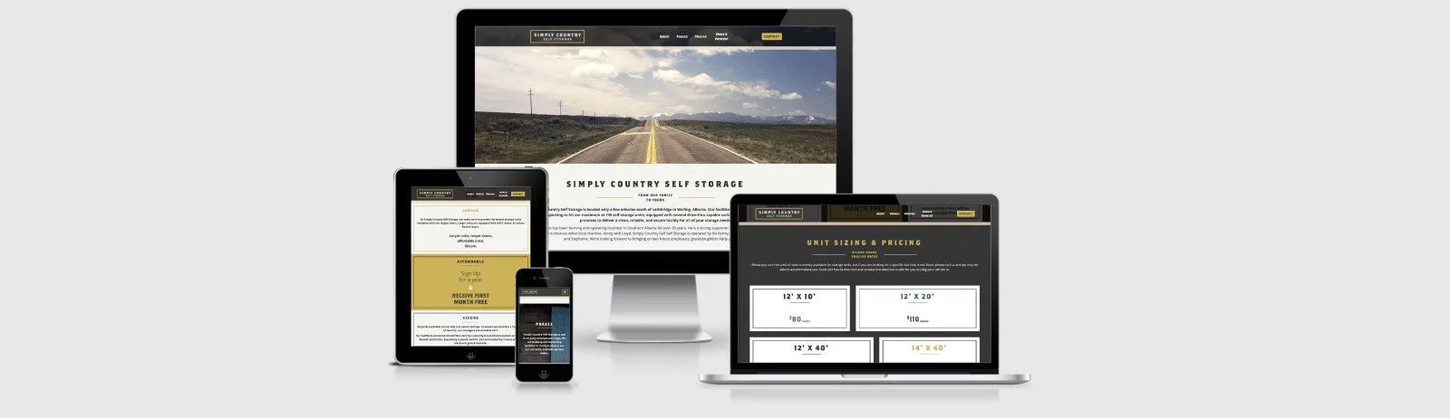 Website Design Mockup for Simply Country Self Storage