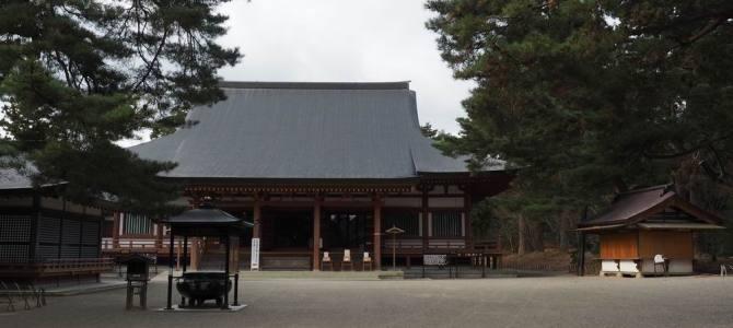 世界遺産毛越寺の正面全景写真