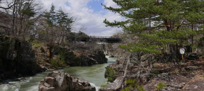 厳美渓の春新緑の風景