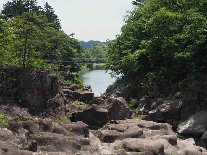 厳美渓の夏の風景写真