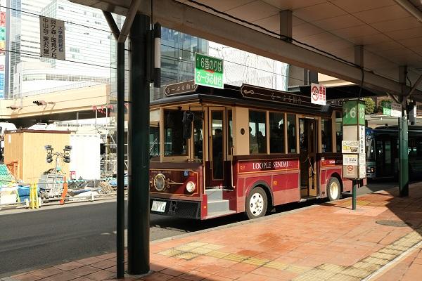 るーぷる仙台の実走行写真・仙台駅での写真と乗り場の風景写真